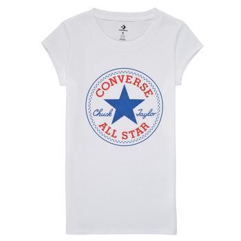 vaatteet Tytöt Lyhythihainen t-paita Converse TIMELESS CHUCK PATCH TEE Valkoinen
