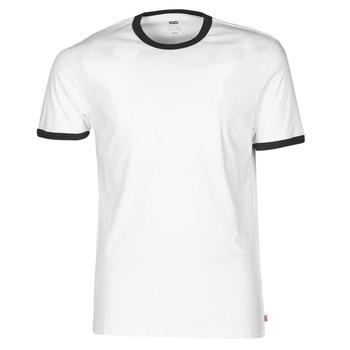 vaatteet Miehet Lyhythihainen t-paita Levi's SS RINGER TEE Valkoinen