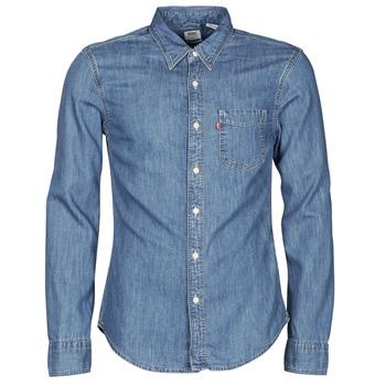 vaatteet Miehet Pitkähihainen paitapusero Levi's SUNSET 1 PKT SLIM Sininen