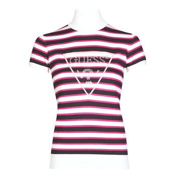 vaatteet Naiset Lyhythihainen t-paita Guess GERALDE TURTLE NECK Musta / Valkoinen