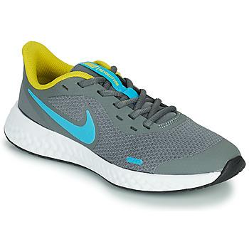 kengät Pojat Urheilukengät Nike REVOLUTION 5 GS Harmaa / Sininen