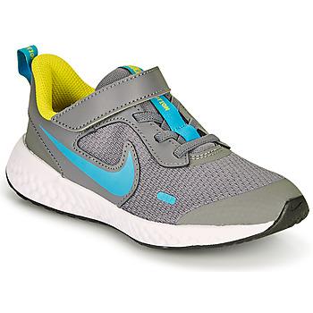 kengät Pojat Urheilukengät Nike REVOLUTION 5 PS Harmaa / Sininen