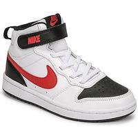 kengät Pojat Matalavartiset tennarit Nike NIKE COURT BOROUGH MID 2 Valkoinen / Punainen / Musta