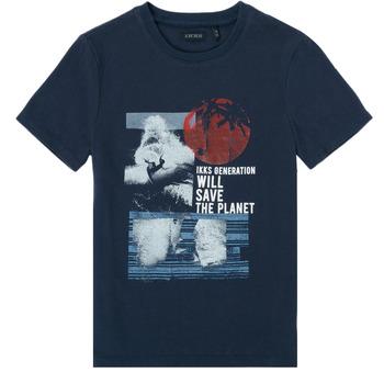 vaatteet Pojat Lyhythihainen t-paita Ikks XS10013-48-C Laivastonsininen