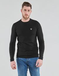 vaatteet Miehet T-paidat pitkillä hihoilla Emporio Armani EA7 TRAIN CORE SHIELD Musta