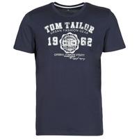vaatteet Miehet Lyhythihainen t-paita Tom Tailor 1008637-10690 Laivastonsininen