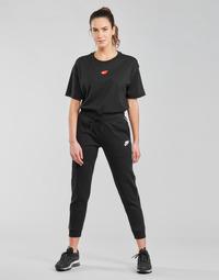 vaatteet Naiset Verryttelyhousut Nike NSMLNESSNTL FLC MR JGGR Musta / Valkoinen