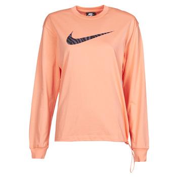 vaatteet Naiset T-paidat pitkillä hihoilla Nike NSICN CLSH LS TOP HBR Vaaleanpunainen / Violetti