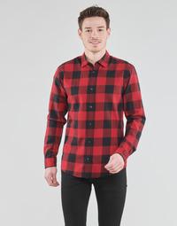 vaatteet Miehet Pitkähihainen paitapusero Jack & Jones JJEGINGHAM Punainen / Musta