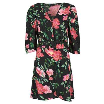 vaatteet Naiset Lyhyt mekko Only ONLEVE 3/4 SLEEVE SHORT DRESS WVN Musta / Vaaleanpunainen