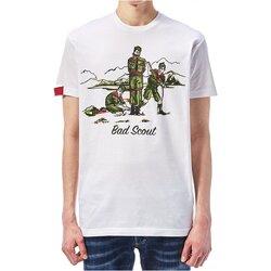 vaatteet Miehet Lyhythihainen t-paita Dsquared S74GD0361 White