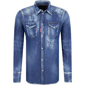 vaatteet Miehet Pitkähihainen paitapusero Dsquared S74DM0226 Blue