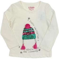 vaatteet Lapset T-paidat pitkillä hihoilla Losan 026-1201AL Valkoinen