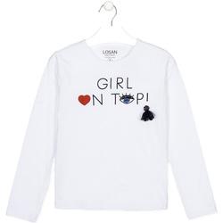 vaatteet Lapset T-paidat pitkillä hihoilla Losan 024-1021AL Valkoinen