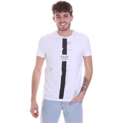 vaatteet Miehet Lyhythihainen t-paita Gaudi 021GU64035 Valkoinen