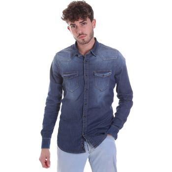 vaatteet Miehet Pitkähihainen paitapusero Gaudi 021GU46001 Sininen