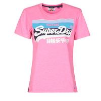 vaatteet Naiset Lyhythihainen t-paita Superdry VL CALI TEE 181 Vaaleanpunainen