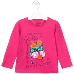 vaatteet Tytöt T-paidat pitkillä hihoilla Losan 026-1201AL Vaaleanpunainen