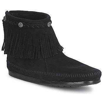 kengät Naiset Bootsit Minnetonka HI TOP BACK ZIP BOOT Musta