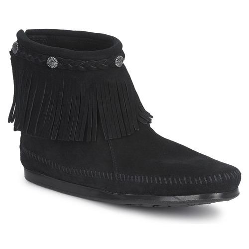 kengät Naiset Bootsit Minnetonka HI TOP BACK ZIP BOOT Black