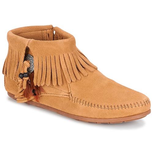 kengät Naiset Bootsit Minnetonka CONCHO FEATHER SIDE ZIP BOOT Camel
