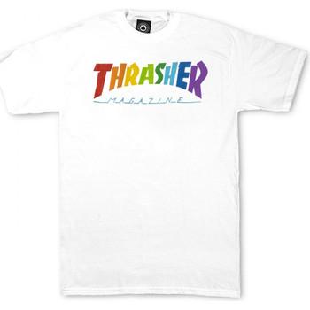 vaatteet Miehet Lyhythihainen t-paita Thrasher T-shirt rainbow mag ss Valkoinen