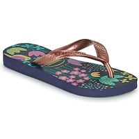 kengät Tytöt Varvassandaalit Havaianas KIDS FLORES Laivastonsininen / Kulta
