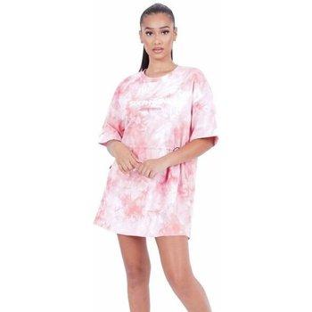 vaatteet Naiset Lyhyt mekko Sixth June Robe femme  Tie and dye rose