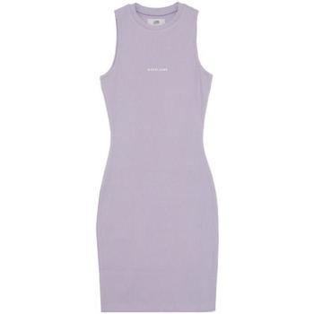vaatteet Naiset Lyhyt mekko Sixth June Robe femme  Rib Essential bleu lila