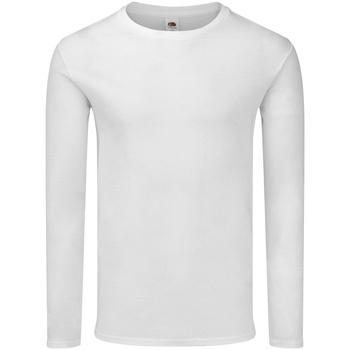 vaatteet Miehet T-paidat pitkillä hihoilla Fruit Of The Loom SS433 White