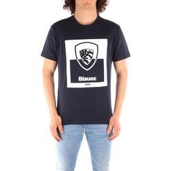 vaatteet Miehet Lyhythihainen t-paita Blauer 21SBLUH02131 BLUE