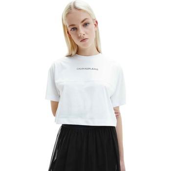 vaatteet Naiset Lyhythihainen t-paita Calvin Klein Jeans J20J215313 Valkoinen