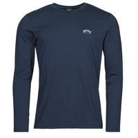 vaatteet Miehet T-paidat pitkillä hihoilla BOSS TOGN CURVED Laivastonsininen