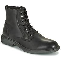 kengät Miehet Bootsit Jack & Jones JFW KARL LEATHER BOOT Musta