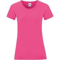 vaatteet Naiset Lyhythihainen t-paita Fruit Of The Loom 61444 Fuchsia