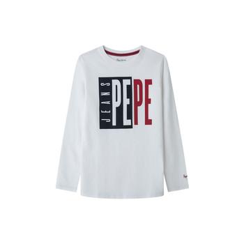 vaatteet Pojat T-paidat pitkillä hihoilla Pepe jeans AARON Valkoinen
