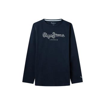 vaatteet Pojat T-paidat pitkillä hihoilla Pepe jeans ALDO Laivastonsininen
