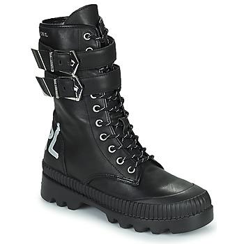 kengät Naiset Bootsit Karl Lagerfeld TREKKA II HI CUFF BUCKLE BOOT Musta