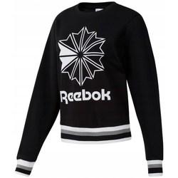 vaatteet Naiset Svetari Reebok Sport CL FT Big Logo Crew Valkoiset, Mustat