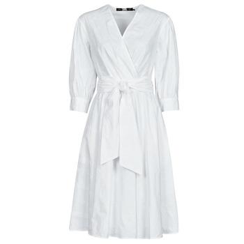vaatteet Naiset Lyhyt mekko Karl Lagerfeld LOGO EMROIDERED SHIRT DRESS Valkoinen