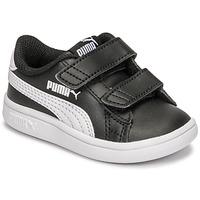 kengät Lapset Matalavartiset tennarit Puma SMASH INF Musta / Valkoinen
