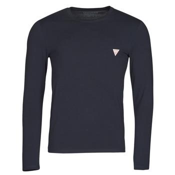 vaatteet Miehet T-paidat pitkillä hihoilla Guess CN LS CORE TEE Laivastonsininen