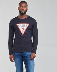 vaatteet Miehet T-paidat pitkillä hihoilla Guess CN LS ORIGINAL LOGO TEE Laivastonsininen