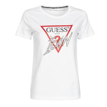 vaatteet Naiset Lyhythihainen t-paita Guess SS CN ICON TEE Valkoinen
