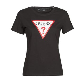 vaatteet Naiset Lyhythihainen t-paita Guess SS CN ORIGINAL TEE Musta