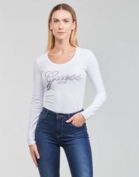 vaatteet Naiset T-paidat pitkillä hihoilla Guess LS CN RAISA TEE Valkoinen