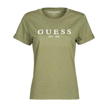 vaatteet Naiset Lyhythihainen t-paita Guess ES SS GUESS 1981 ROLL CUFF TEE Khaki