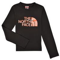 vaatteet Pojat T-paidat pitkillä hihoilla The North Face EASY TEE LS Musta