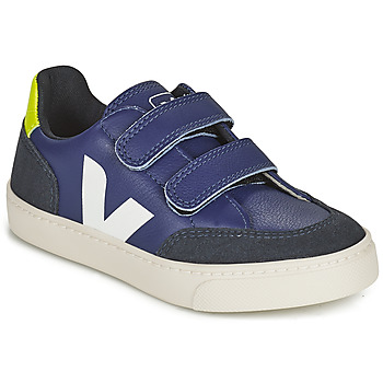 kengät Lapset Matalavartiset tennarit Veja SMALL V-12 VELCRO Sininen / Valkoinen