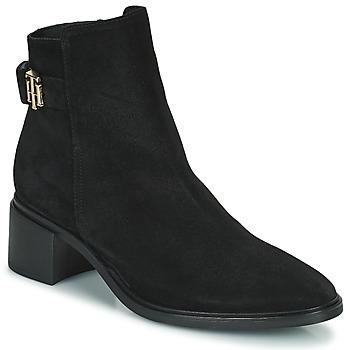 kengät Naiset Bootsit Tommy Hilfiger HARDWARE TH MID HEEL BOOT Musta